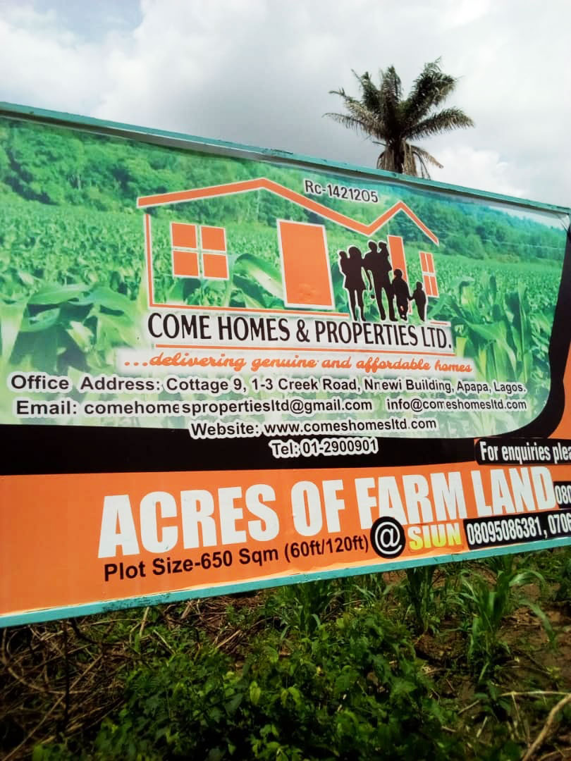 Acres of Farmland for Sale at Siun, Ogun state | Come Homes